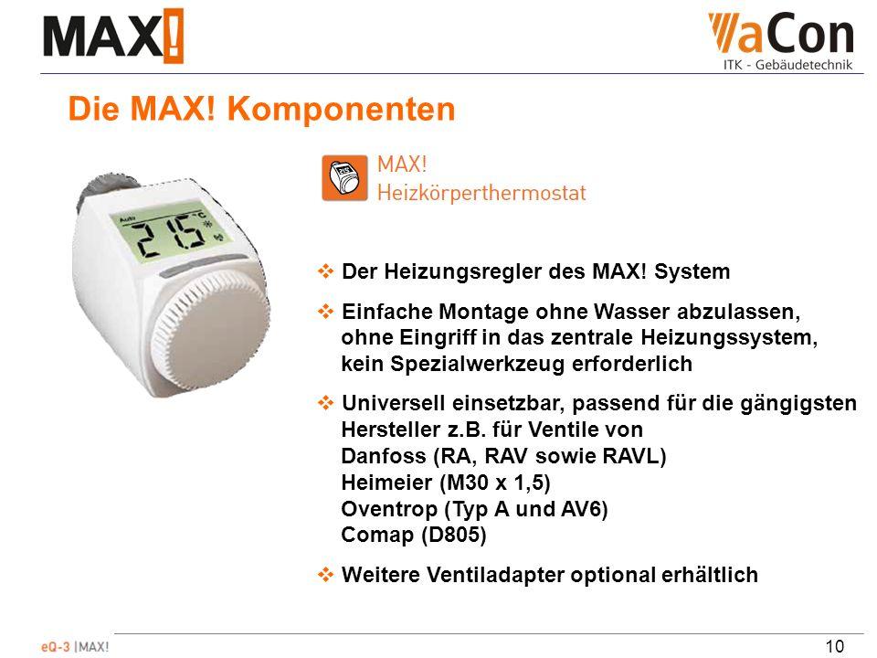 10 Die MAX. Komponenten Der Heizungsregler des MAX.