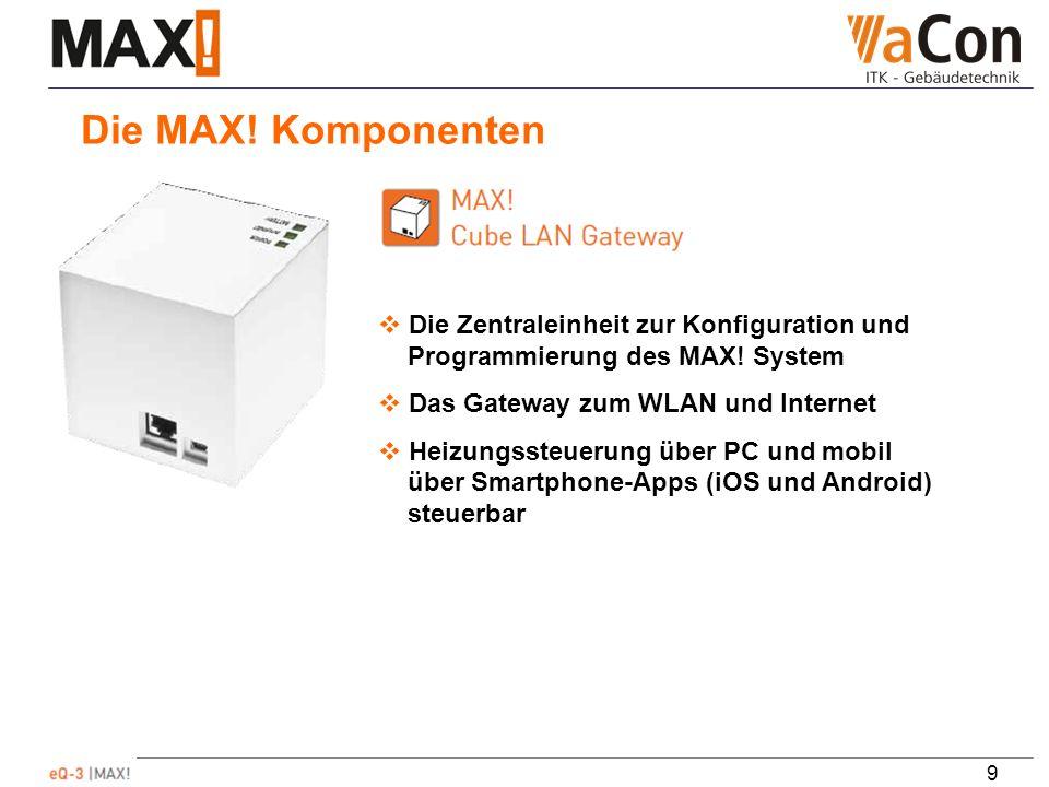 9 Die MAX. Komponenten Die Zentraleinheit zur Konfiguration und Programmierung des MAX.