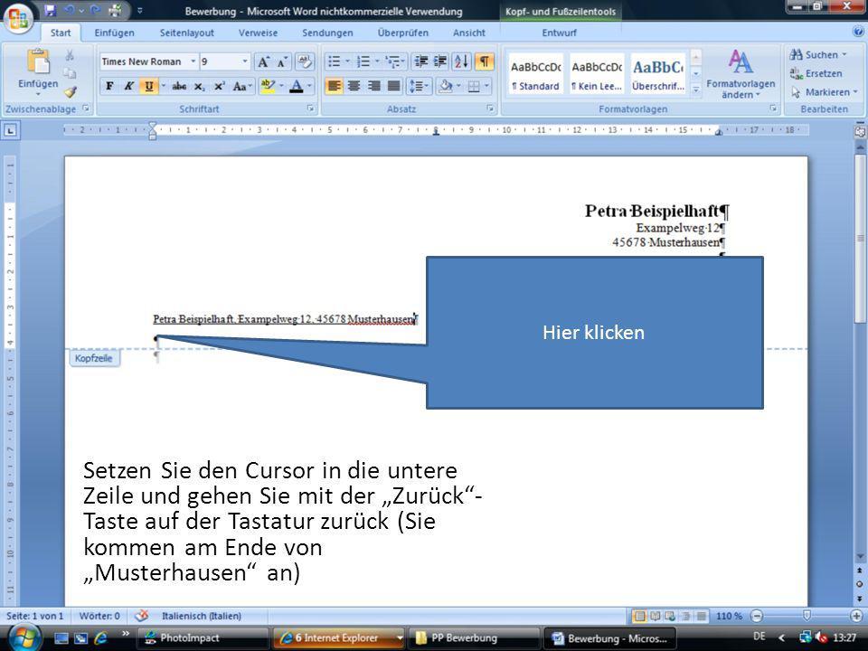Hier in der Präsentation funktioniert das mit der Tastatur natürlich nicht.