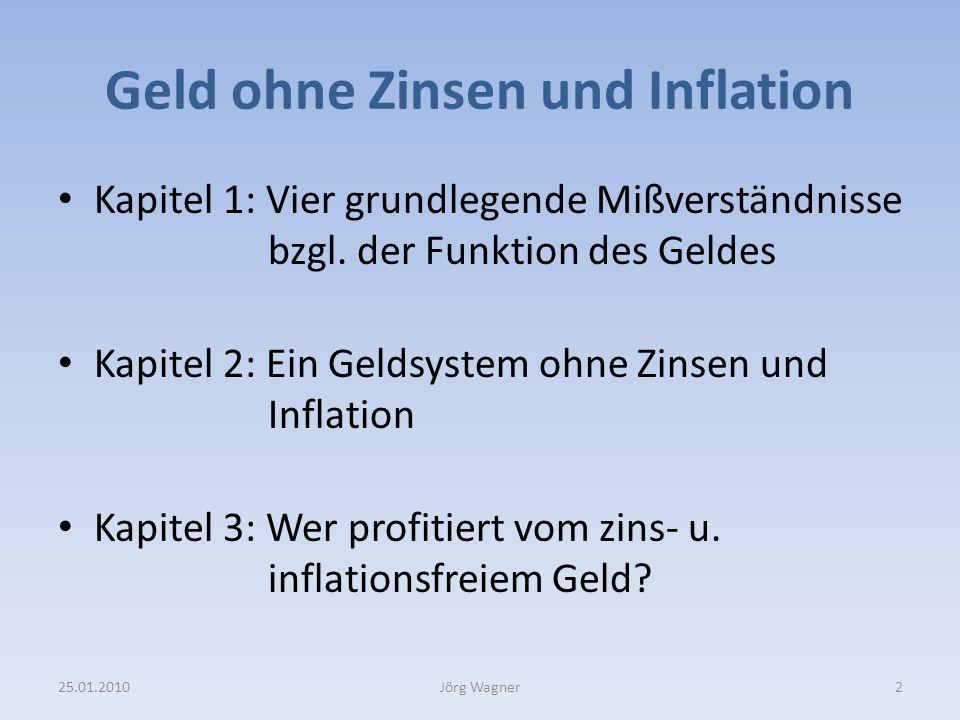 Kapitel 3 Wer profitiert von zins- und inflationsfreiem Geld 25.01.201023Jörg Wagner