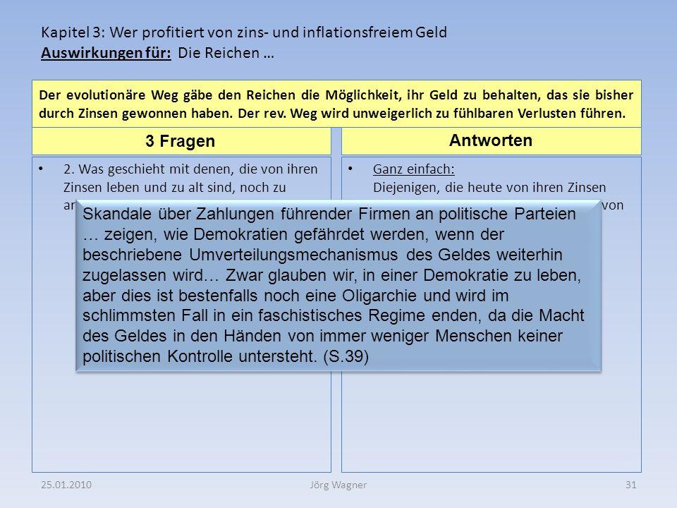 25.01.201031Jörg Wagner 3 Fragen Antworten Kapitel 3: Wer profitiert von zins- und inflationsfreiem Geld Auswirkungen für: Die Reichen … 2.