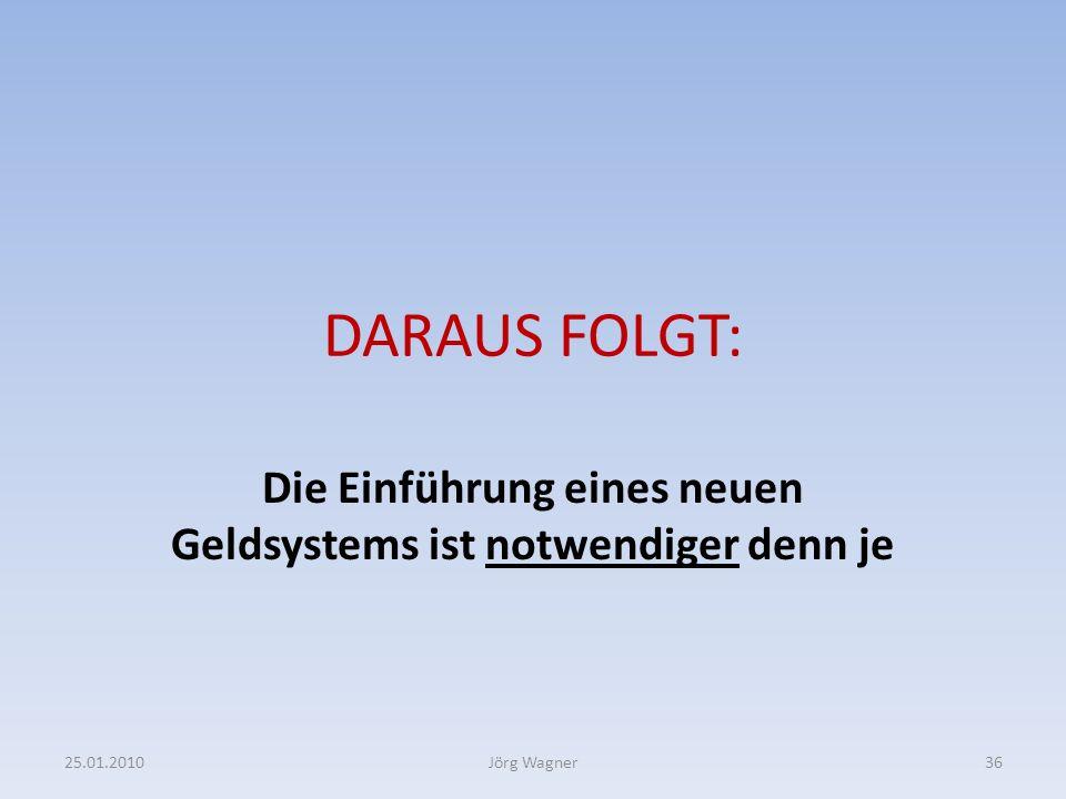 DARAUS FOLGT: Die Einführung eines neuen Geldsystems ist notwendiger denn je 25.01.201036Jörg Wagner