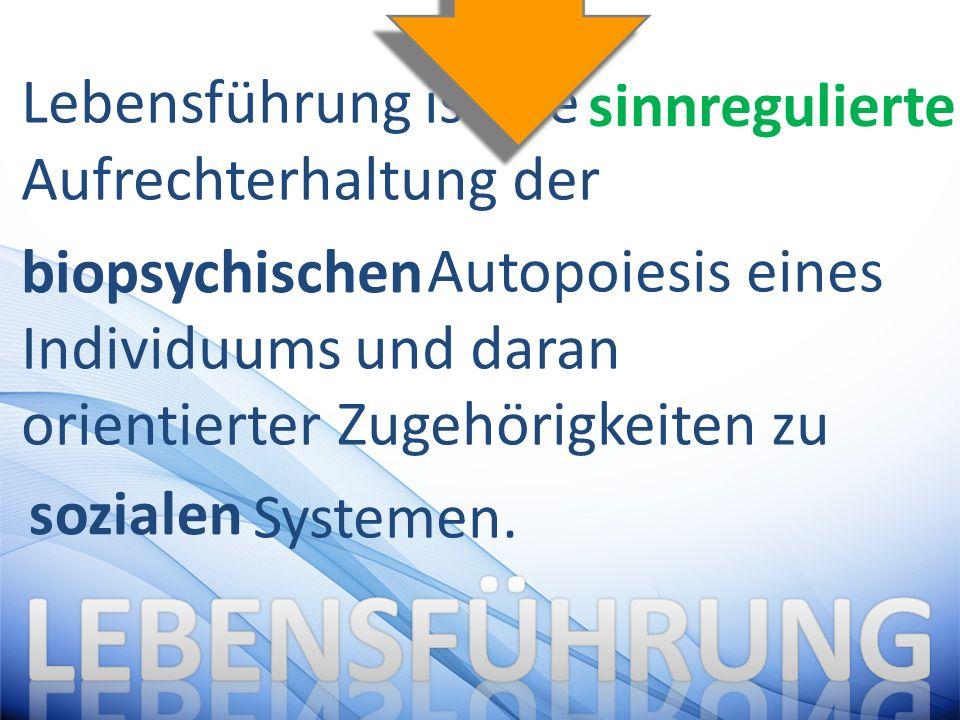 Lebensführung ist die Aufrechterhaltung der Autopoiesis eines Individuums und daran orientierter Zugehörigkeiten zu Systemen. sinnregulierte biopsychi