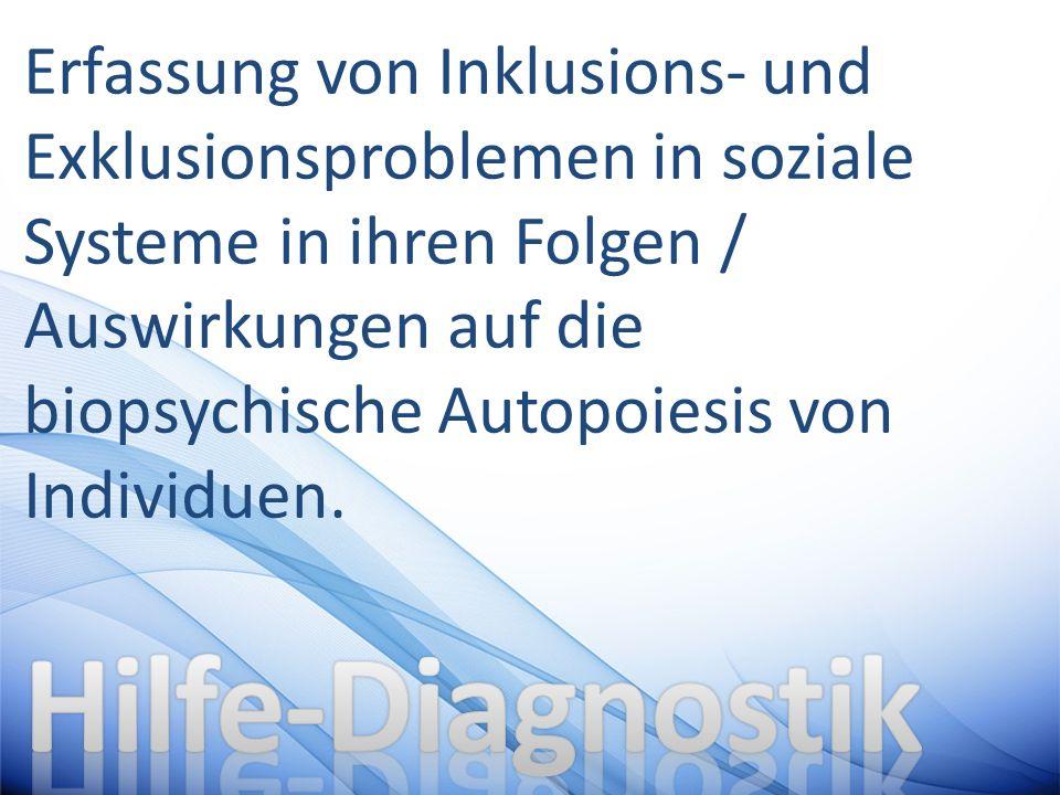 Erfassung von Inklusions- und Exklusionsproblemen in soziale Systeme in ihren Folgen / Auswirkungen auf die biopsychische Autopoiesis von Individuen.