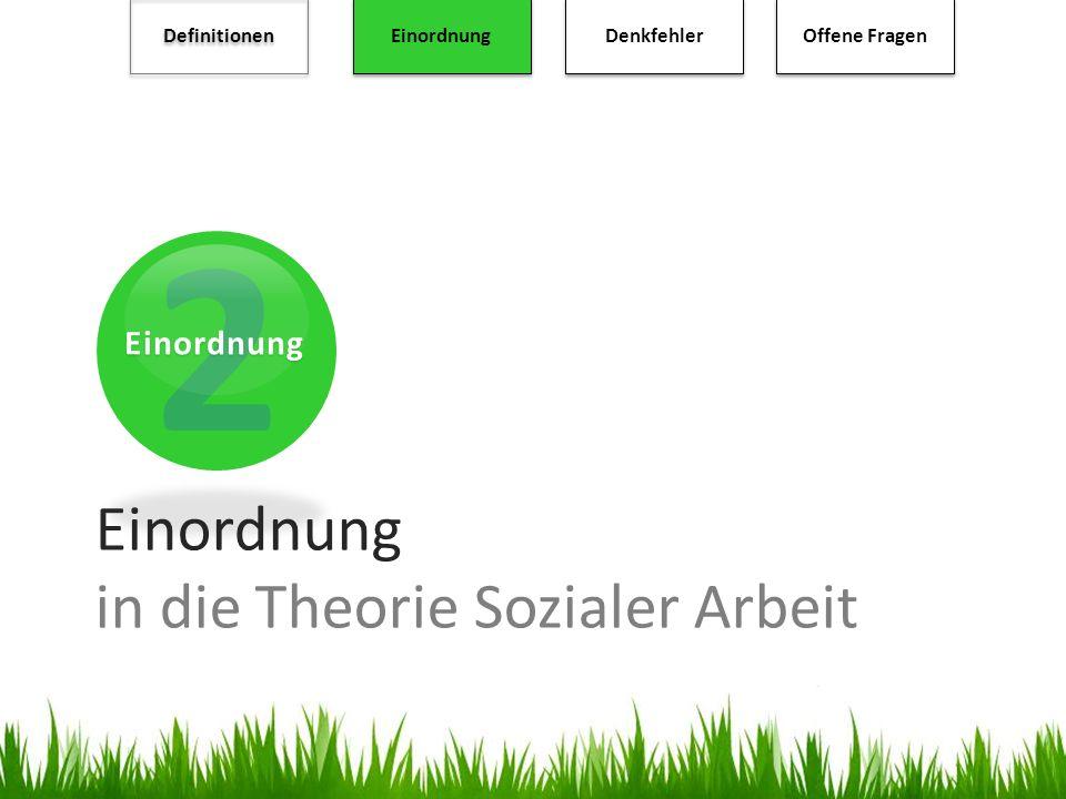 2 Einordnung Definitionen Einordnung Denkfehler Offene Fragen Einordnung in die Theorie Sozialer Arbeit