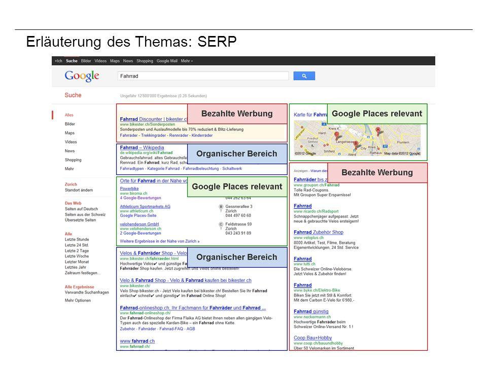 Motivation Vorlesung «E-Business» Ende 2010 Private Nutzung von Google Places Möglichkeit für eine Umfrage