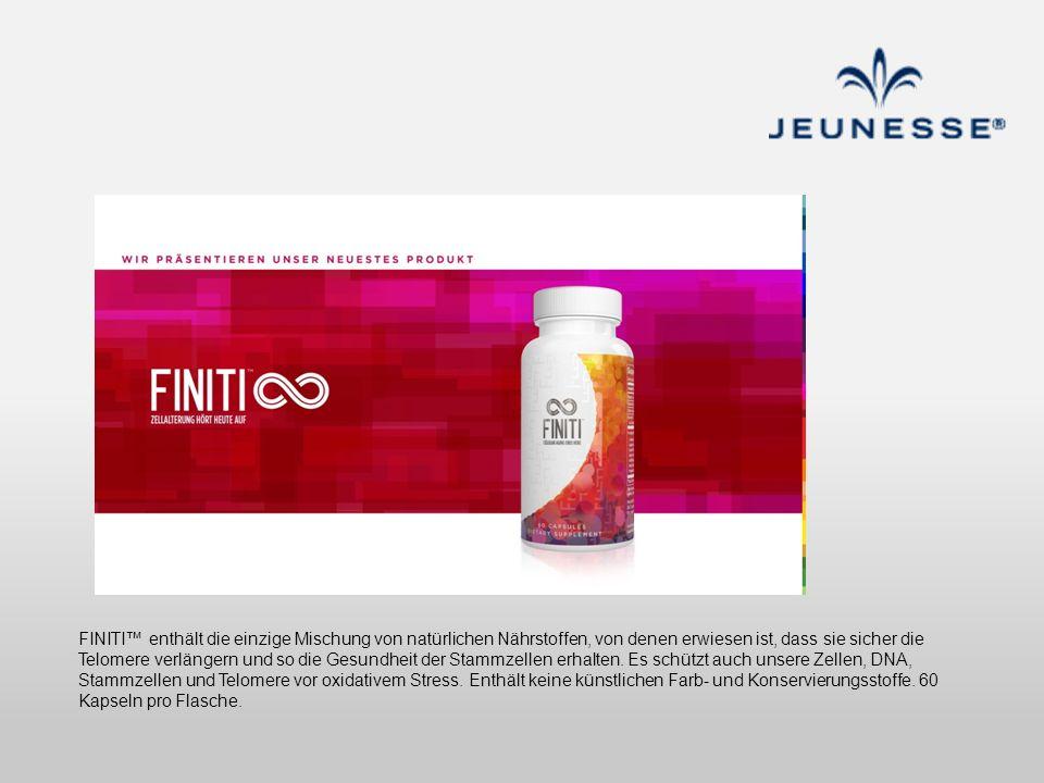 FINITI enthält die einzige Mischung von natürlichen Nährstoffen, von denen erwiesen ist, dass sie sicher die Telomere verlängern und so die Gesundheit