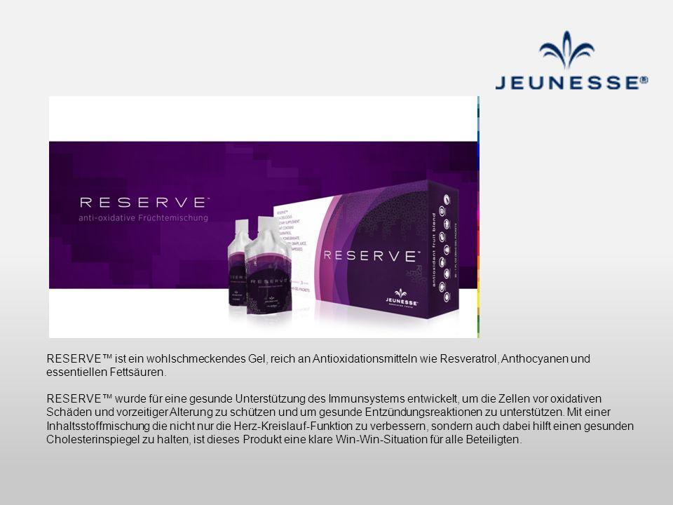 RESERVE ist ein wohlschmeckendes Gel, reich an Antioxidationsmitteln wie Resveratrol, Anthocyanen und essentiellen Fettsäuren. RESERVE wurde für eine