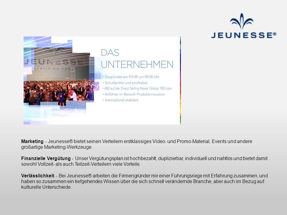 Marketing - Jeunesse® bietet seinen Verteilern erstklassiges Video- und Promo-Material, Events und andere großartige Marketing-Werkzeuge. Finanzielle