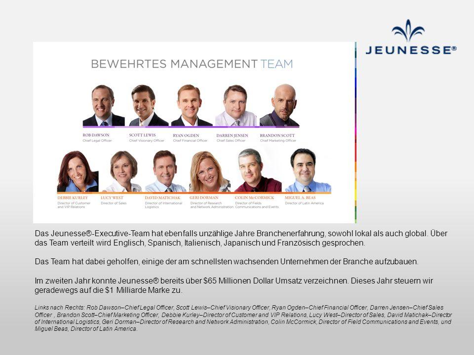 Das Jeunesse®-Executive-Team hat ebenfalls unzählige Jahre Branchenerfahrung, sowohl lokal als auch global. Über das Team verteilt wird Englisch, Span