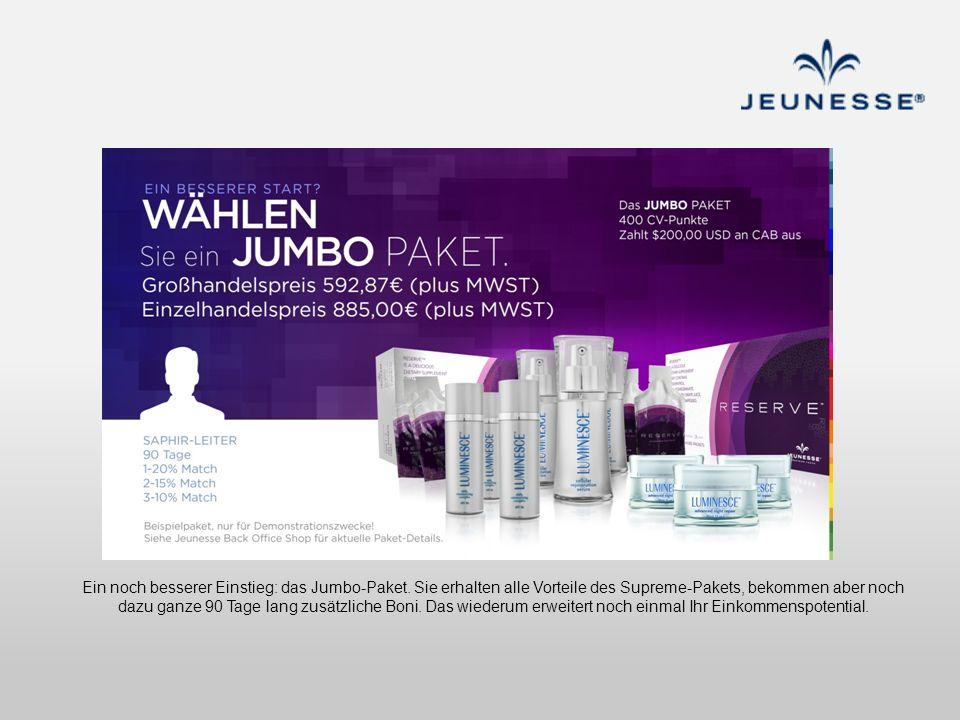 Ein noch besserer Einstieg: das Jumbo-Paket. Sie erhalten alle Vorteile des Supreme-Pakets, bekommen aber noch dazu ganze 90 Tage lang zusätzliche Bon
