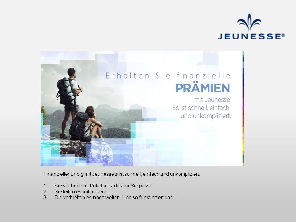 Finanzieller Erfolg mit Jeunesse® ist schnell, einfach und unkompliziert. 1. Sie suchen das Paket aus, das für Sie passt. 2. Sie teilen es mit anderen