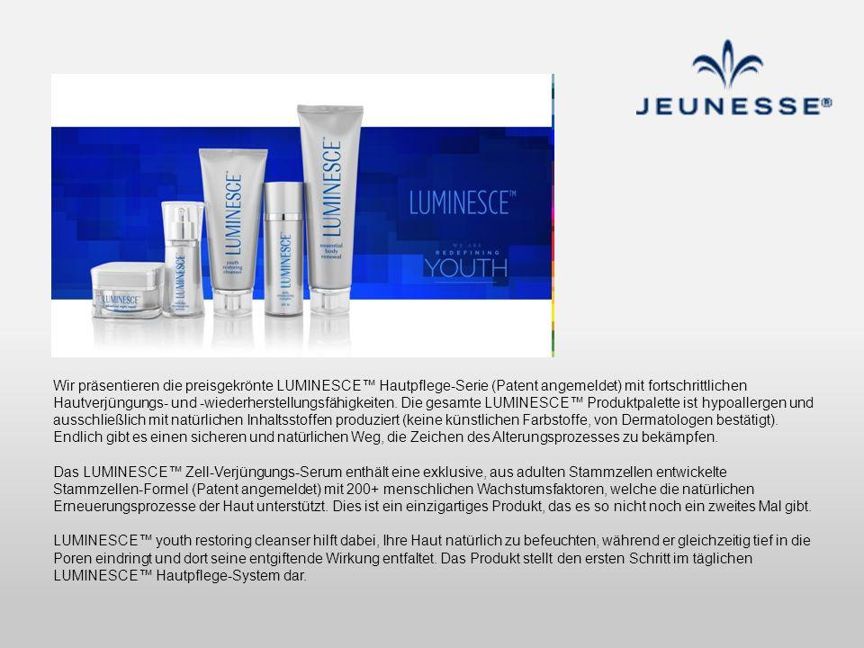 Wir präsentieren die preisgekrönte LUMINESCE Hautpflege-Serie (Patent angemeldet) mit fortschrittlichen Hautverjüngungs- und -wiederherstellungsfähigk
