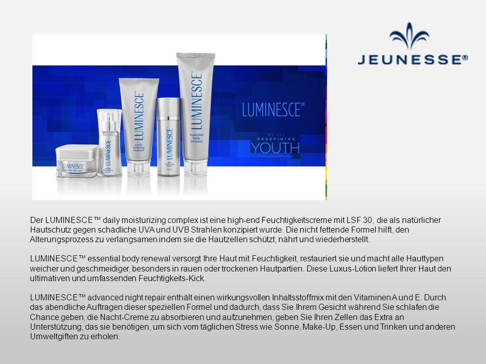 Der LUMINESCE daily moisturizing complex ist eine high-end Feuchtigkeitscreme mit LSF 30, die als natürlicher Hautschutz gegen schädliche UVA und UVB