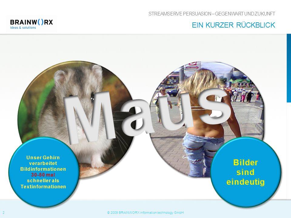 2 © 2009 BRAINWORX information technology GmbH STREAMSERVE PERSUASION – GEGENWART UND ZUKUNFT EIN KURZER RÜCKBLICK