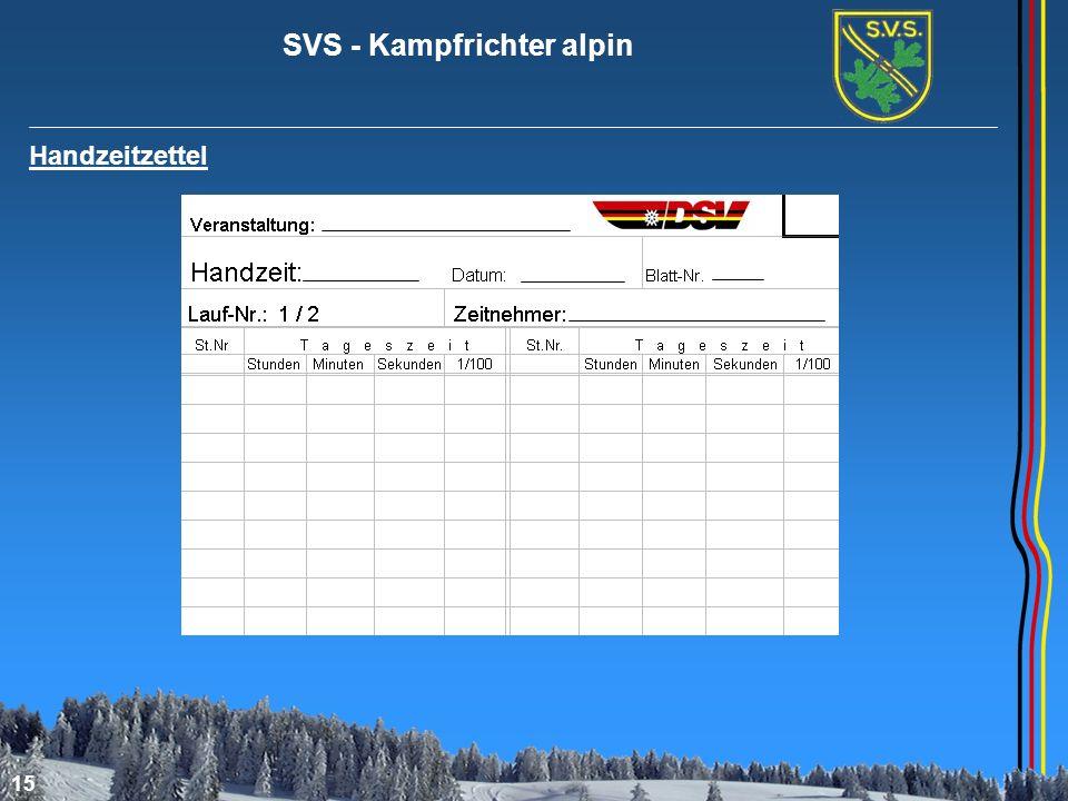SVS - Kampfrichter alpin 15 Handzeitzettel