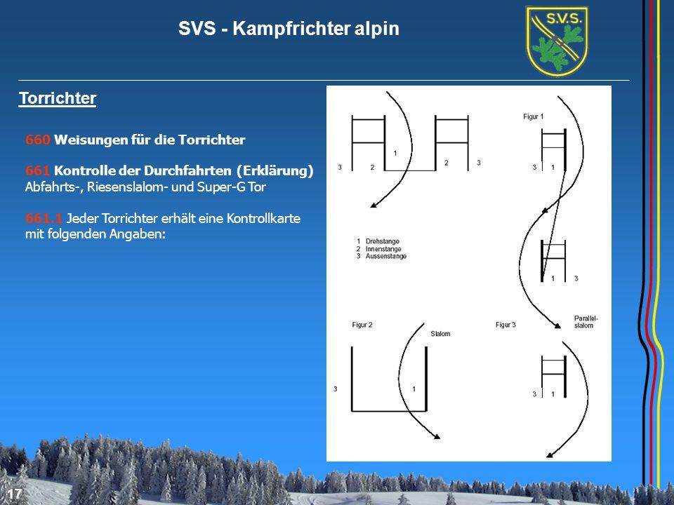 SVS - Kampfrichter alpin 17 Torrichter 660 Weisungen für die Torrichter 661 Kontrolle der Durchfahrten (Erklärung) Abfahrts-, Riesenslalom- und Super-