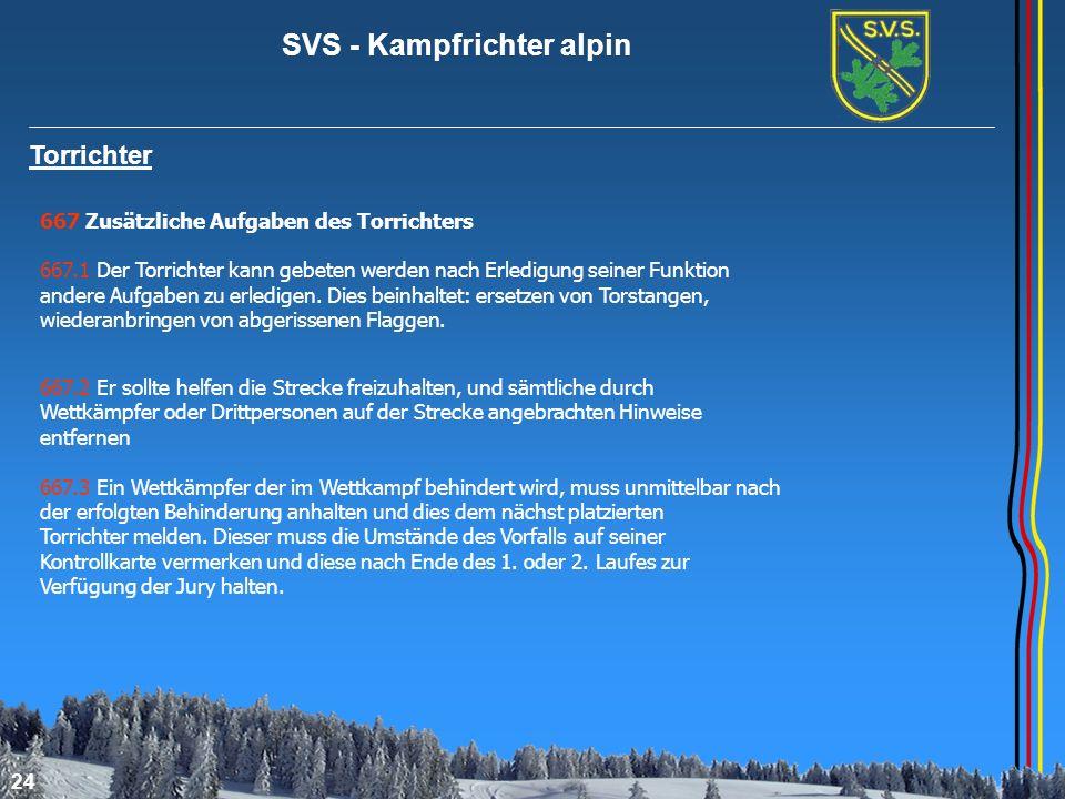 SVS - Kampfrichter alpin 24 Torrichter 667 Zusätzliche Aufgaben des Torrichters 667.1 Der Torrichter kann gebeten werden nach Erledigung seiner Funkti