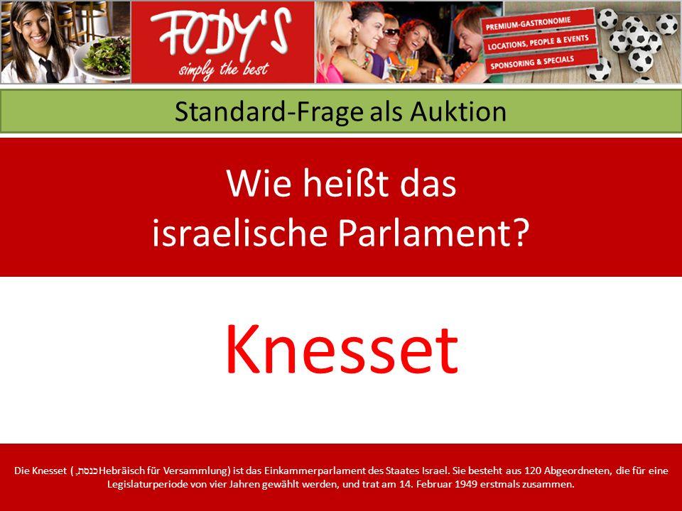 Standard-Frage als Auktion Wie heißt das israelische Parlament.