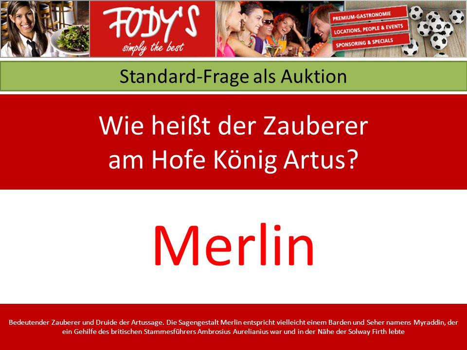 Standard-Frage als Auktion Wie heißt der Zauberer am Hofe König Artus.