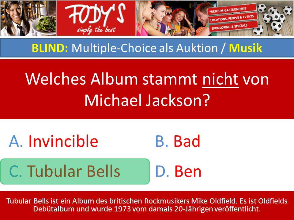 BLIND: Multiple-Choice als Auktion / Musik Welches Album stammt nicht von Michael Jackson.