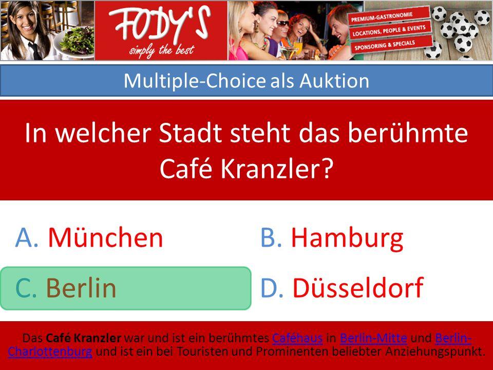 Multiple-Choice als Auktion In welcher Stadt steht das berühmte Café Kranzler.