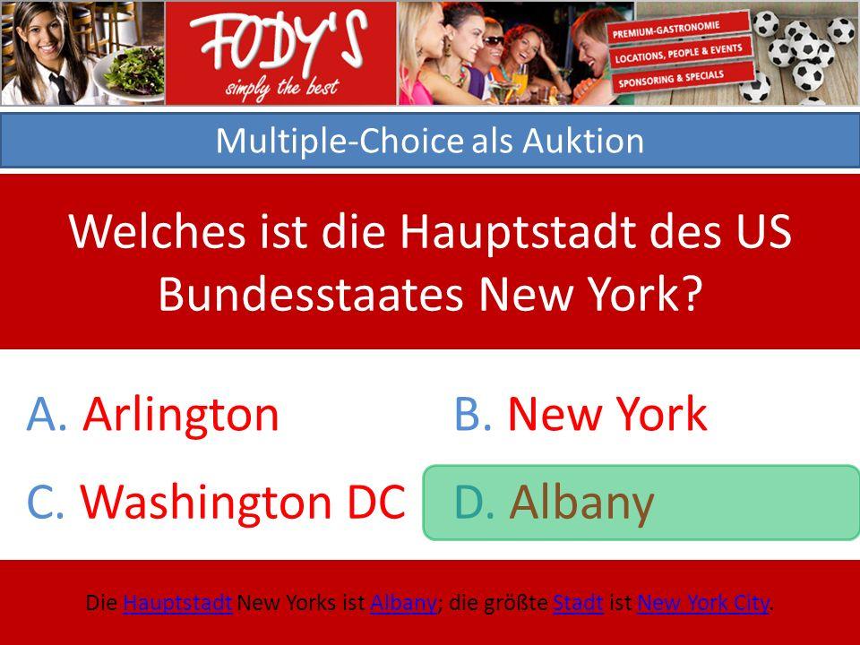 Multiple-Choice als Auktion Welches ist die Hauptstadt des US Bundesstaates New York.