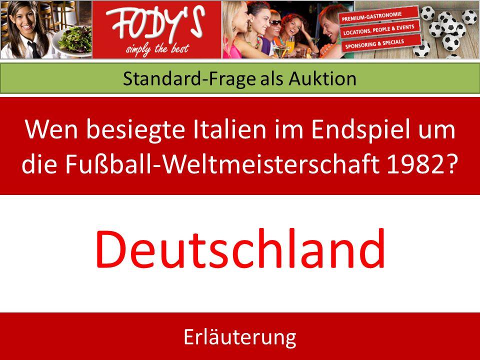Standard-Frage als Auktion Wen besiegte Italien im Endspiel um die Fußball-Weltmeisterschaft 1982.