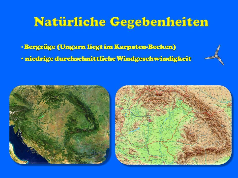 Bergzüge (Ungarn liegt im Karpaten-Becken) niedrige durchschnittliche Windgeschwindigkeit niedrige durchschnittliche Windgeschwindigkeit