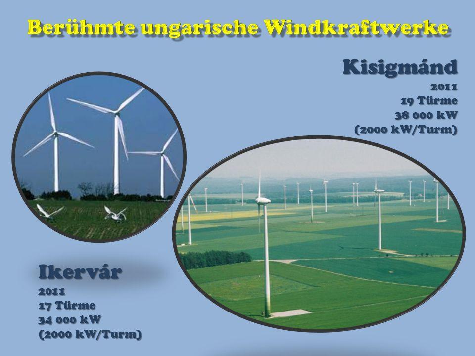 Kisigmánd2011 19 Türme 38 000 kW (2000 kW/Turm) Ikervár2011 17 Türme 34 000 kW (2000 kW/Turm)