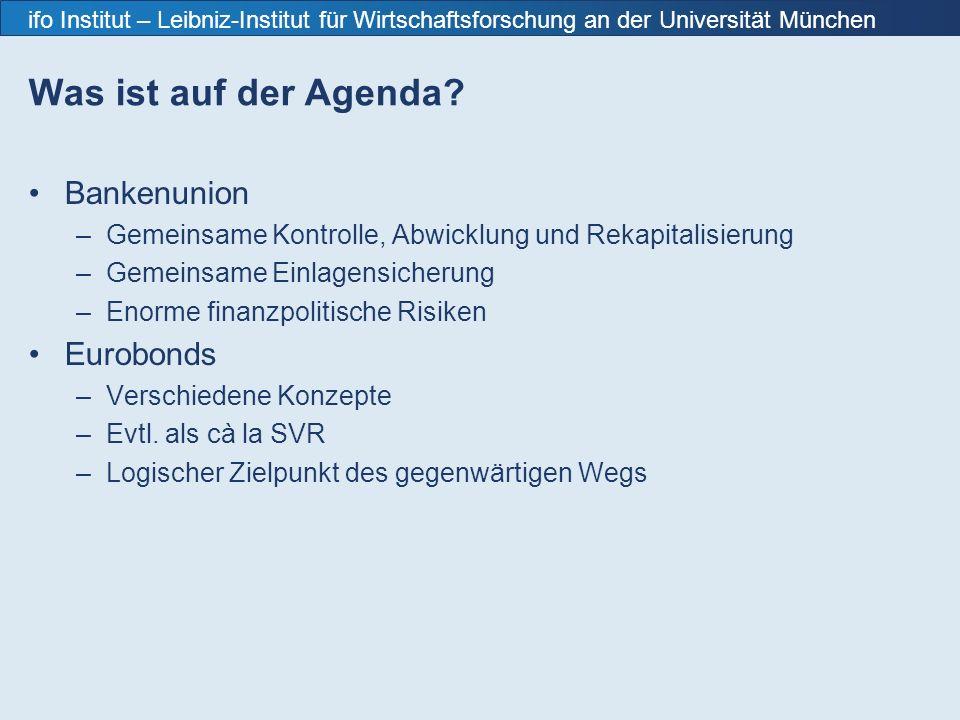 ifo Institut – Leibniz-Institut für Wirtschaftsforschung an der Universität München Was ist auf der Agenda.