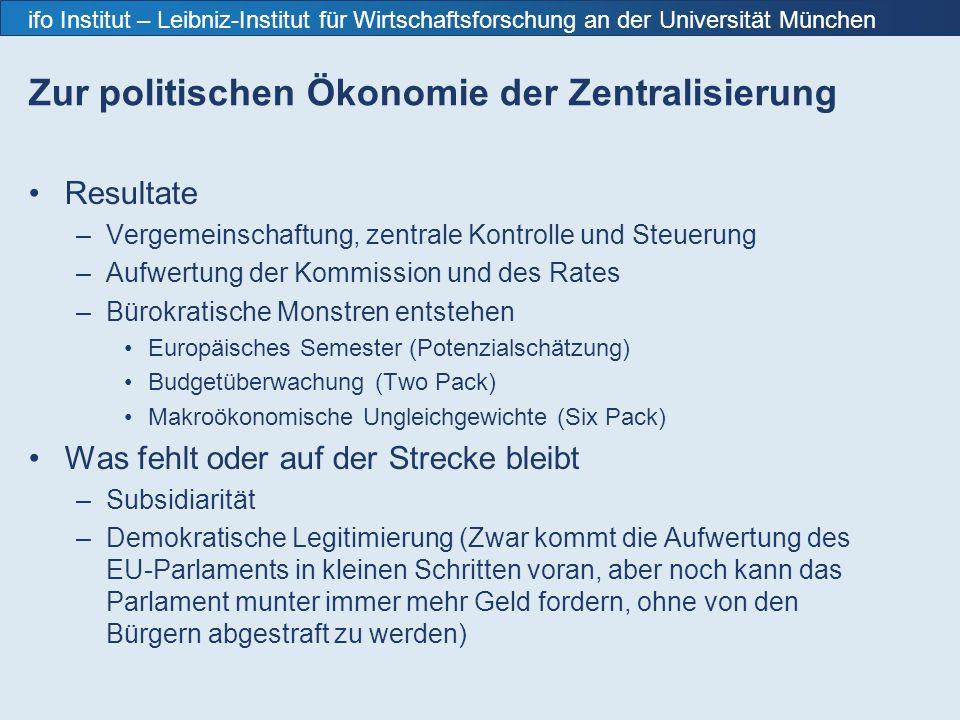 ifo Institut – Leibniz-Institut für Wirtschaftsforschung an der Universität München Zur politischen Ökonomie der Zentralisierung Resultate –Vergemeinschaftung, zentrale Kontrolle und Steuerung –Aufwertung der Kommission und des Rates –Bürokratische Monstren entstehen Europäisches Semester (Potenzialschätzung) Budgetüberwachung (Two Pack) Makroökonomische Ungleichgewichte (Six Pack) Was fehlt oder auf der Strecke bleibt –Subsidiarität –Demokratische Legitimierung (Zwar kommt die Aufwertung des EU-Parlaments in kleinen Schritten voran, aber noch kann das Parlament munter immer mehr Geld fordern, ohne von den Bürgern abgestraft zu werden)