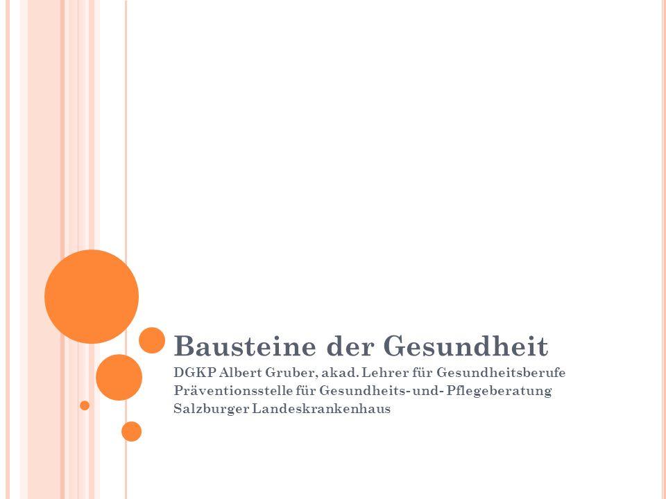 Bausteine der Gesundheit DGKP Albert Gruber, akad.
