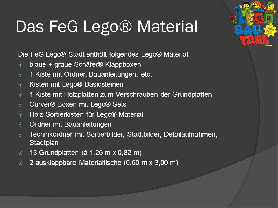 Das FeG Lego® Material Die FeG Lego® Stadt enthält folgendes Lego® Material: blaue + graue Schäfer® Klappboxen 1 Kiste mit Ordner, Bauanleitungen, etc