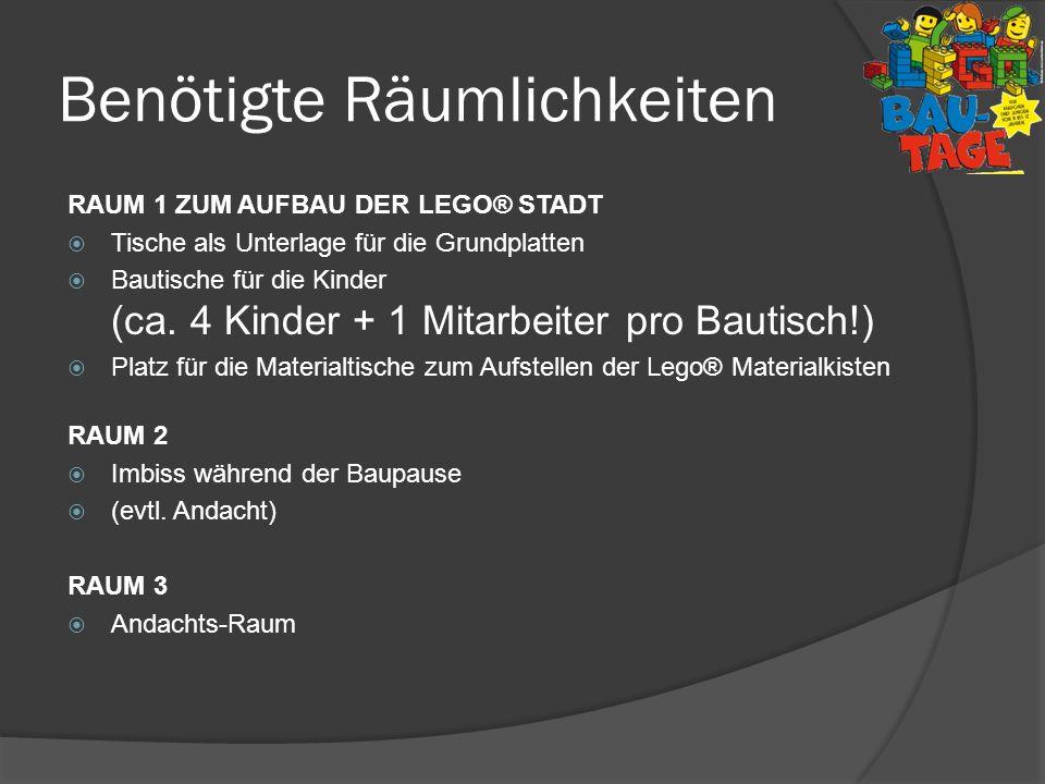 Benötigte Räumlichkeiten RAUM 1 ZUM AUFBAU DER LEGO® STADT Tische als Unterlage für die Grundplatten Bautische für die Kinder (ca. 4 Kinder + 1 Mitarb