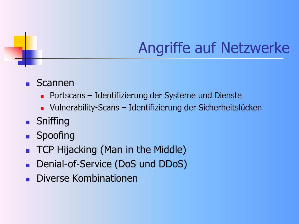 Angriffe auf Netzwerke Scannen Portscans – Identifizierung der Systeme und Dienste Vulnerability-Scans – Identifizierung der Sicherheitslücken Sniffin