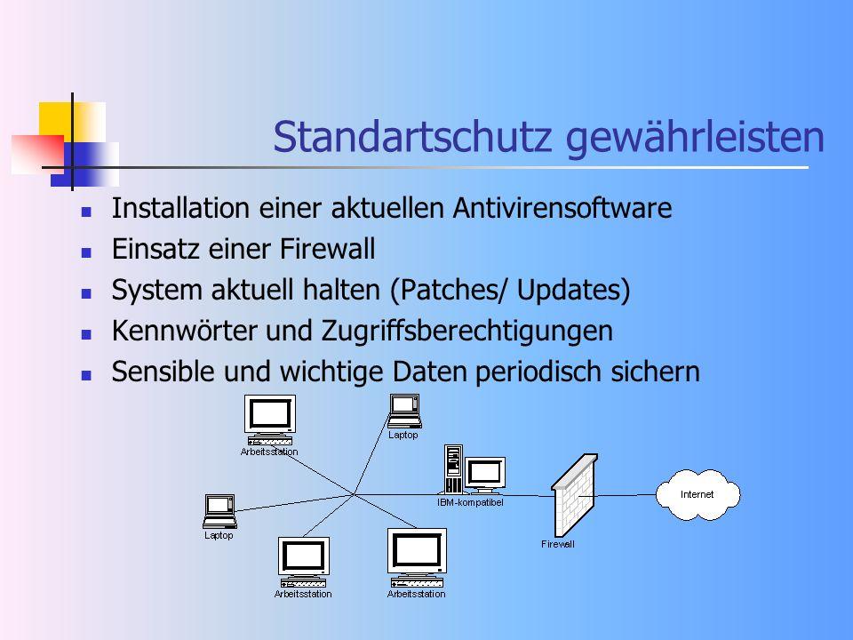 Standartschutz gewährleisten Installation einer aktuellen Antivirensoftware Einsatz einer Firewall System aktuell halten (Patches/ Updates) Kennwörter