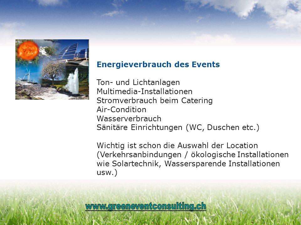 Energieverbrauch des Events Ton- und Lichtanlagen Multimedia-Installationen Stromverbrauch beim Catering Air-Condition Wasserverbrauch Sänitäre Einric