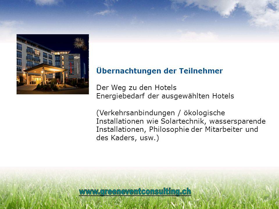 Übernachtungen der Teilnehmer Der Weg zu den Hotels Energiebedarf der ausgewählten Hotels (Verkehrsanbindungen / ökologische Installationen wie Solart