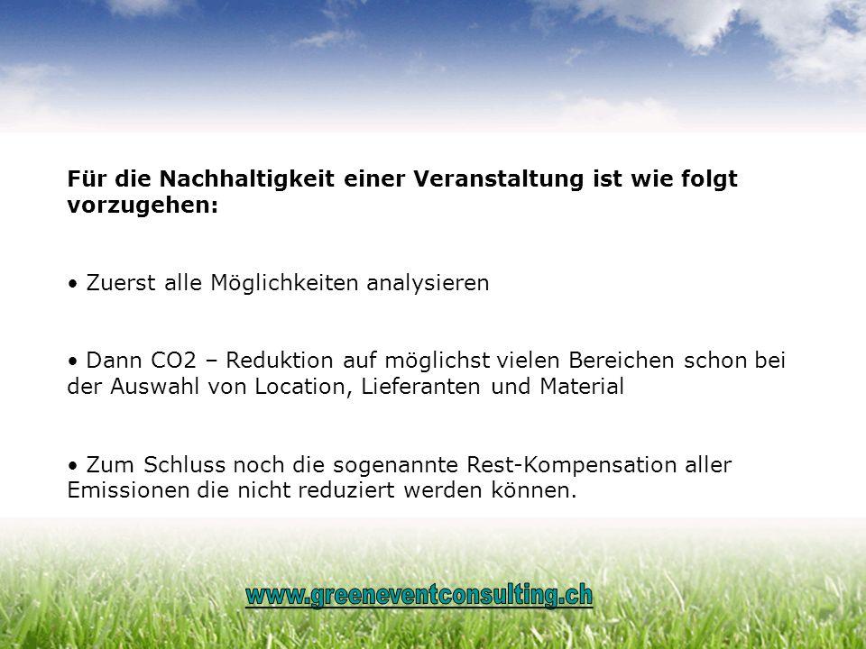 Für die Nachhaltigkeit einer Veranstaltung ist wie folgt vorzugehen: Zuerst alle Möglichkeiten analysieren Dann CO2 – Reduktion auf möglichst vielen B