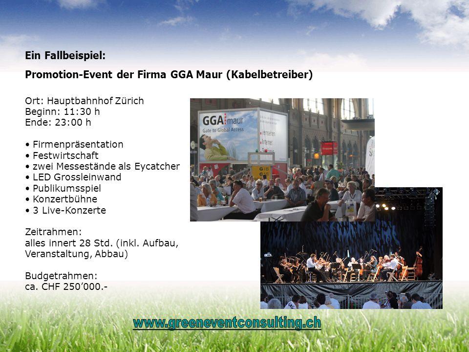Ein Fallbeispiel: Promotion-Event der Firma GGA Maur (Kabelbetreiber) Ort: Hauptbahnhof Zürich Beginn: 11:30 h Ende: 23:00 h Firmenpräsentation Festwi