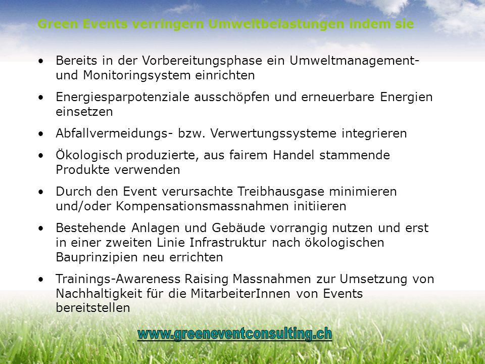 Green Events verringern Umweltbelastungen indem sie Bereits in der Vorbereitungsphase ein Umweltmanagement- und Monitoringsystem einrichten Energiespa