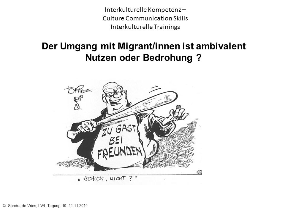 © Sandra de Vries, LWL Tagung 10.-11.11.2010 Interkulturelle Kompetenz – Culture Communication Skills Interkulturelle Trainings Der Umgang mit Migrant