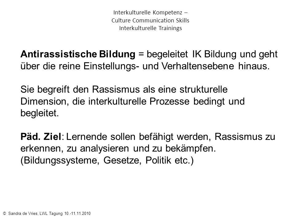 © Sandra de Vries, LWL Tagung 10.-11.11.2010 Interkulturelle Kompetenz – Culture Communication Skills Interkulturelle Trainings Antirassistische Bildu