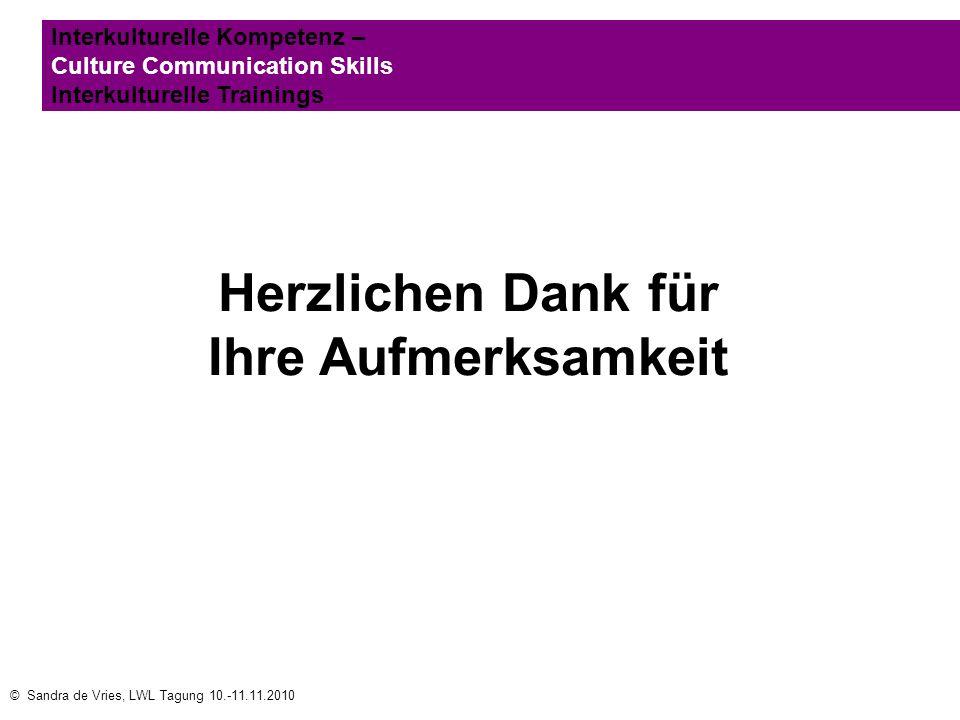 © Sandra de Vries, LWL Tagung 10.-11.11.2010 Interkulturelle Kompetenz – Culture Communication Skills Interkulturelle Trainings Herzlichen Dank für Ih