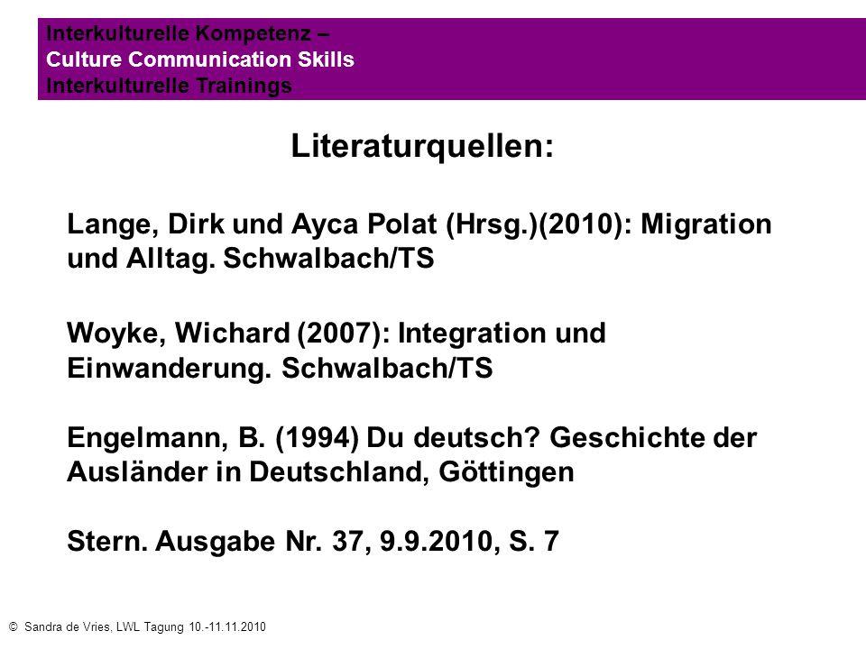 © Sandra de Vries, LWL Tagung 10.-11.11.2010 Interkulturelle Kompetenz – Culture Communication Skills Interkulturelle Trainings Literaturquellen: Lang