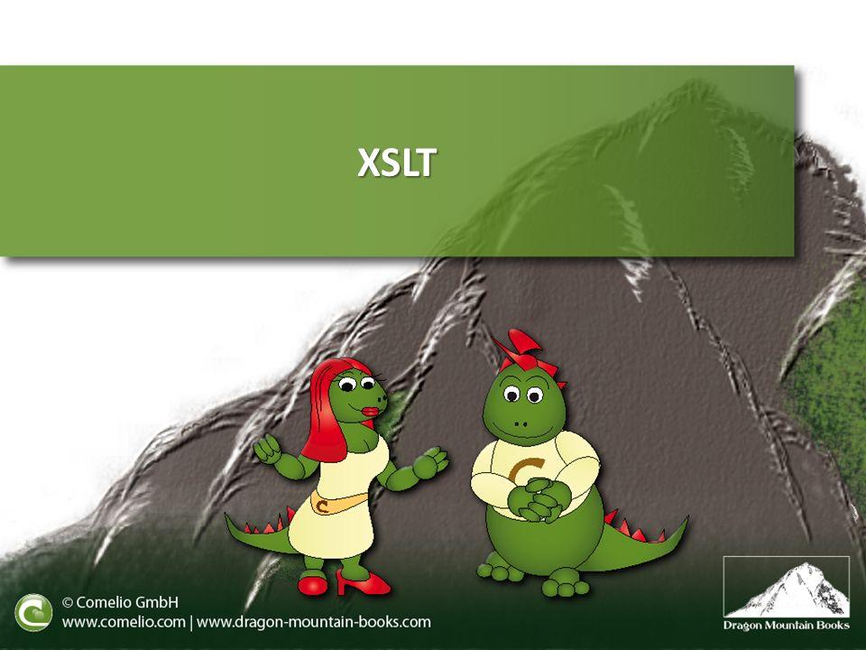 Stylesheet-Wurzel Vorlagen Ausgabe Leerraum Funktionen Kontrollanweisungen & Techniken Sortierung Nummerierung Inhalte Gruppierung XML-Erstellung Variablen und Parameter Module kombinieren Reguläre Ausdrücke XSLT-Funktionen Dokumentation und Referenzen