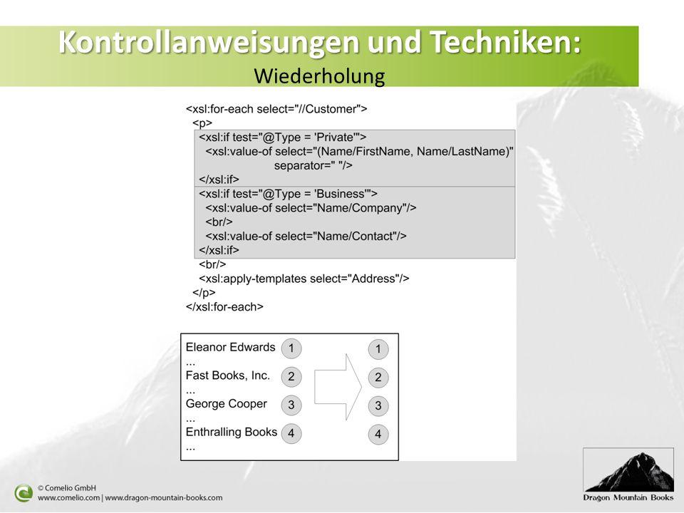 Kontrollanweisungen und Techniken: Kontrollanweisungen und Techniken: Wiederholung