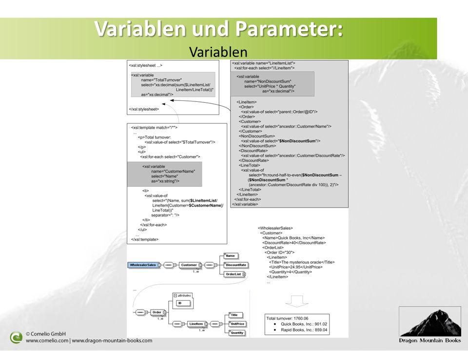 Variablen und Parameter: Variablen und Parameter: Variablen