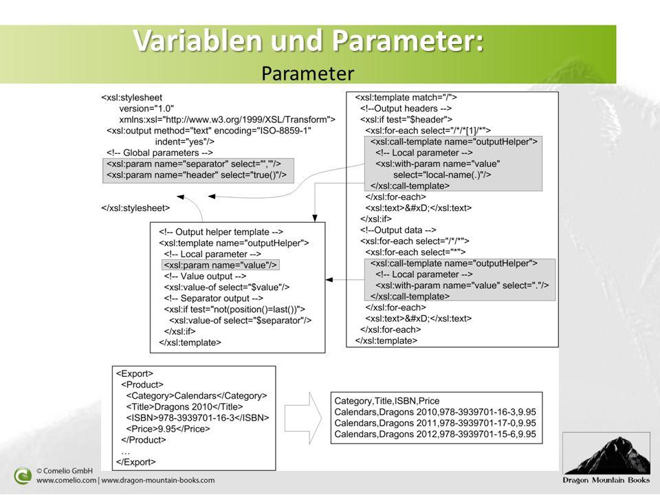 Variablen und Parameter: Variablen und Parameter: Parameter